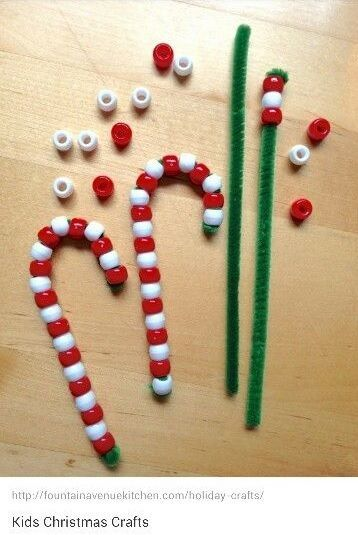 pipe cleaner and beads = candy cane craft