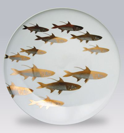 School of Fish Canape Plates Set of 6 from Caskata in Yardley, PA from Pink Daisy