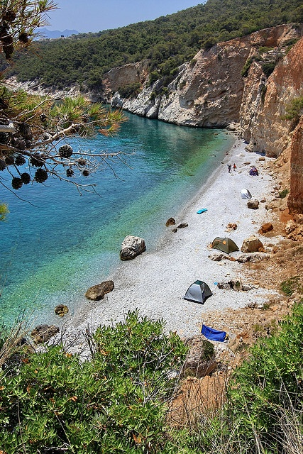 Overview of Halikiada Beach. Angistri island, Saronian, Greece