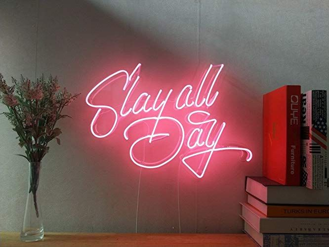 Slay All Day Real Glass Neon Sign For Bedroom Garage Bar Man Cave Room Home Decor Handmade Artwork Visual Art Dimmable Wall Lighting Includes Dimmer