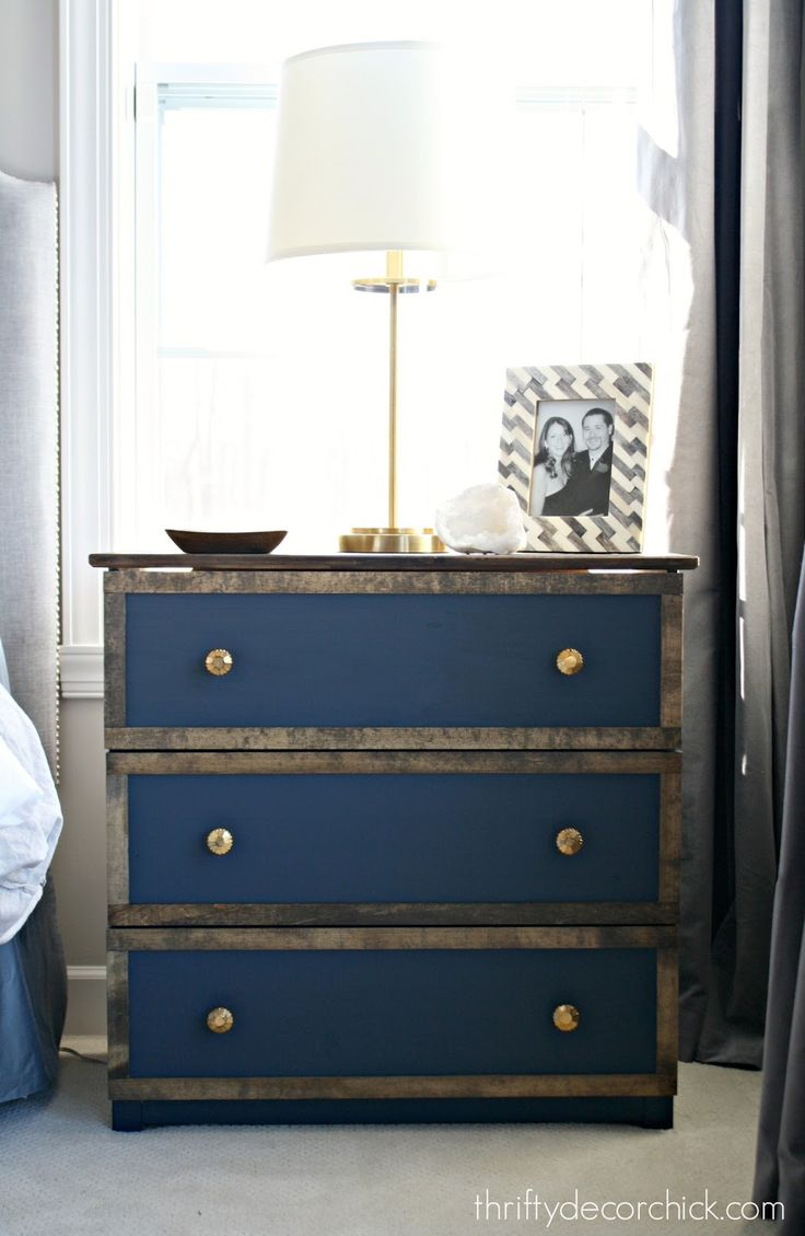 Turning a plain IKEA dresser into a gorgeous nightstand using Miniwax! By Thrifty Decor Chick