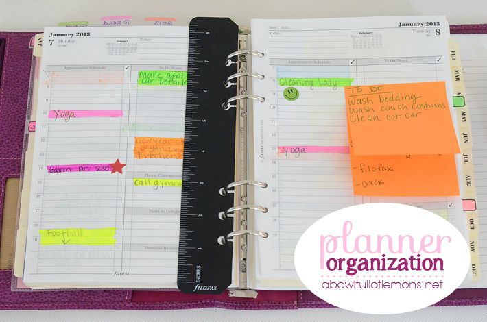 How to organize your organizer: A5 Filofax Day per page Business Style (2013), A5 Month on 2 pages, Month Tabs, Blank Index Tabs (2 sets), A5 to do list, A5 ruled note paper classic colors, A5 Finance, Color code everyone's schedule, Daily to do's/reminders go on a sticky note. If I don't complete the task, it gets moved to the next day.  Goals, budget, meals, to do, agenda.