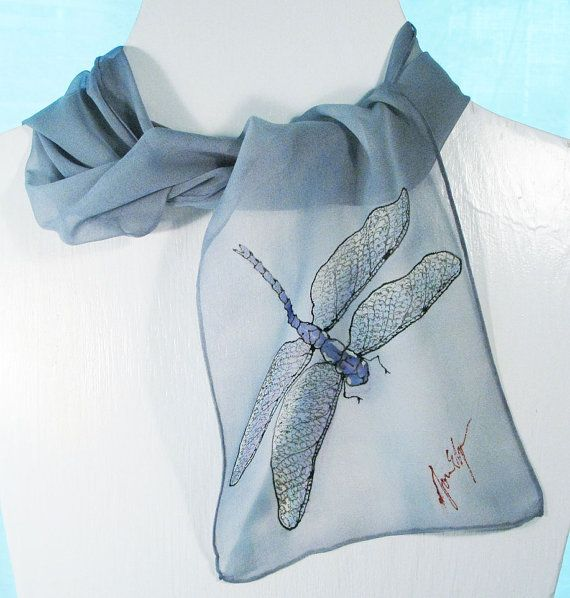 """Dragonfly Silk Scarf- Hand-painted Silk Scarves in silvery gray on silk chiffon.  8"""" x 52""""  Free Gift wrapping."""
