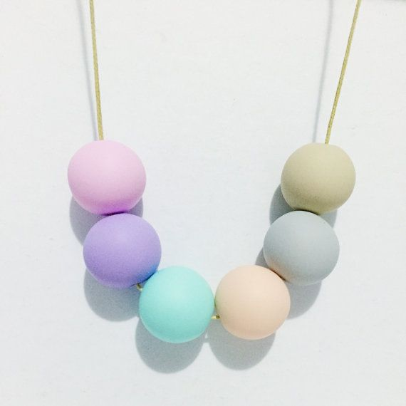 Handmade Polymer Clay Beads Necklace Pastel by CirkusCharm on Etsy