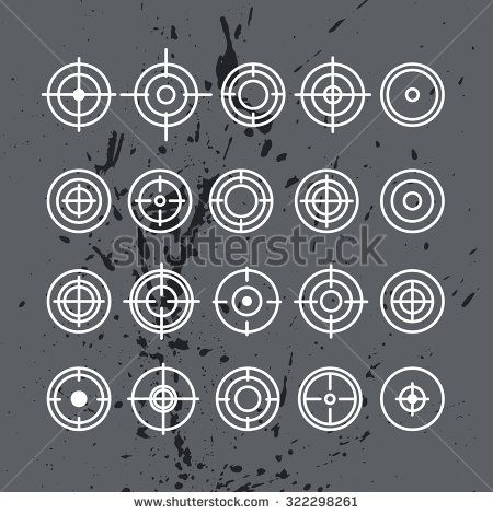 Vector collection of target flat icons. Crosshairs group. Aims isolated. - stock vector
