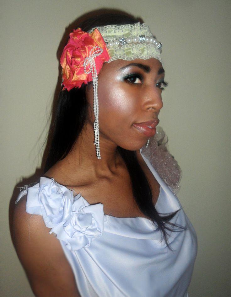 Boho headband with faux pearls.