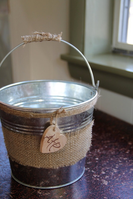 Tin flower birl bucket FREE SHIPPING by Rusticblend on Etsy, $30.00