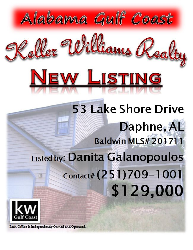 53 Lake Shore Drive, Daphne, AL...MLS# 201711...Golf Course view town home. Move in ready, high ceilings, 3/2.5, quiet cul-de-sac location, indirect view of Lake from front and full golf course in back. Master down, 2 bedrooms up, patio, garage and sky-lights. Property is rented on a month to month lease. Please contact Danita Galanopoulos at 251-709-1001.