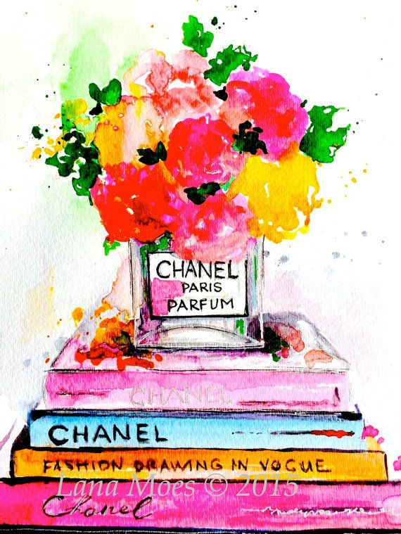 Print from one of my original pen and watercolor illustrations from  Chanel Love  series. *Print 10 x 8 inches comes signed on the front and back. *For