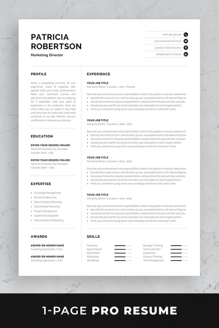 Professional Resume Template Set With One Page And Two Designs Matching Cover Letter References Sheet For A Complete Consistent