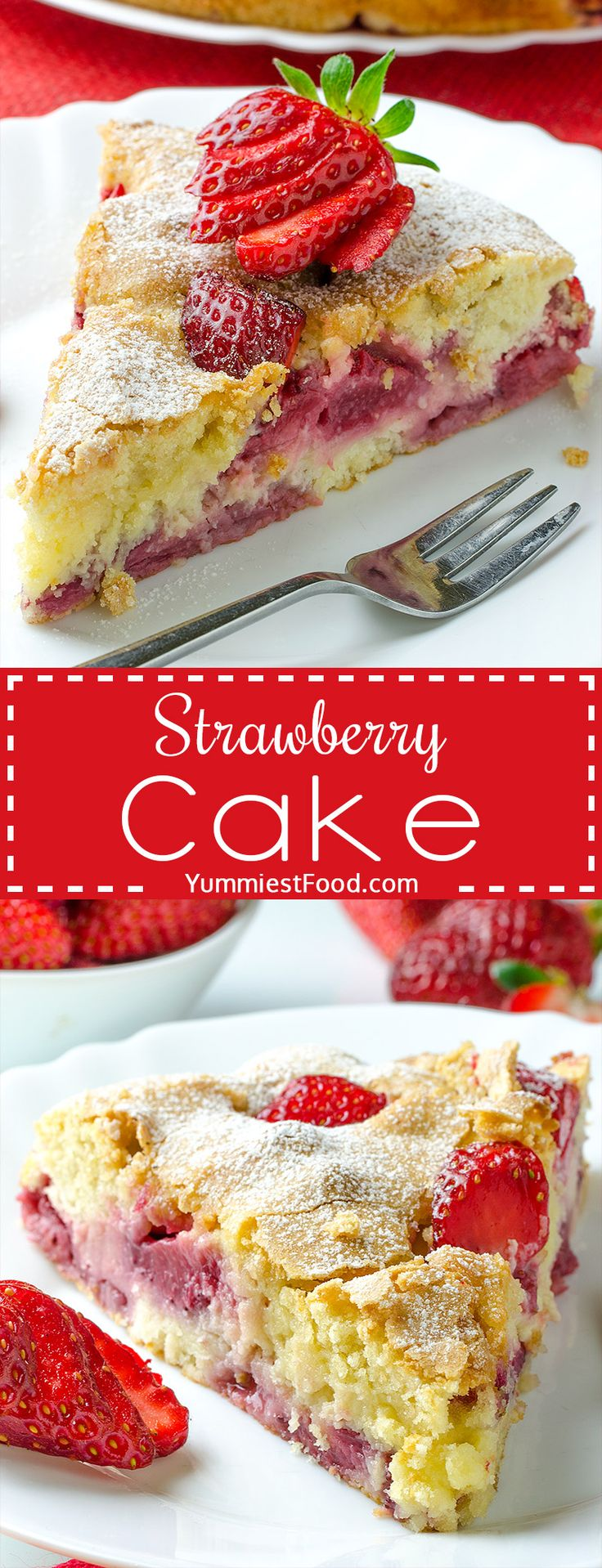 Strawberry Cake is perfect summer dessert! Rich flavor, moist, super tasty and easy to make! You need just few ingredients for this Strawberry Cake and I am sure you will like this sweet sour combination!