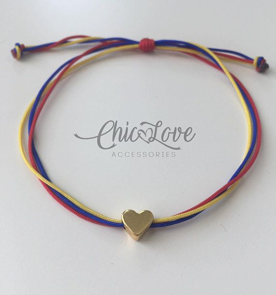 Ref35, Colombian Bracelet with Small Heart, Pulsera de Colombia, Colombian Bracelet, Bracelet, Colombian Flag