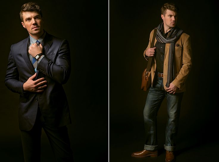 ABOVE LEFT: Jack Victor jacket, $520; Alberto pants, $198; and David Donahue tie, $115; from Geno's Clothiers. Shirt, $98, from Johnston & Murphy. Cartier Tank Solo watch, $3,450, from Tivol. ABOVE RIGHT: Jacket, $228; chambray shirt, $98; scarf, $65.50; and J&Mperforated belt, $89.50, from Johnston & Murphy. Jeans from page 53. Pebble attaché, $358, from Cole Haan at Legends Outlets.