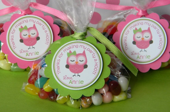 12 Owl Birthday Party Favor Tags in Pink by sweetheartpartyshop
