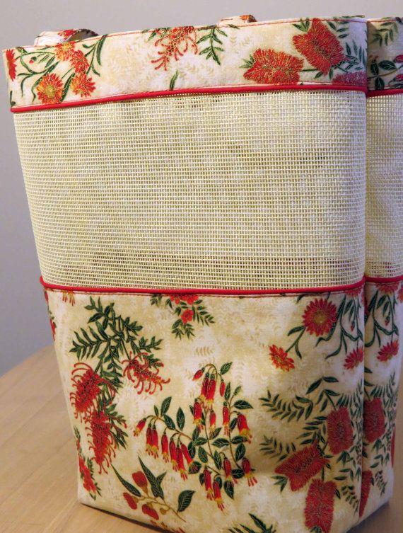 Shopping Bag Mesh Bag Cream and Red by HoneyMyrtleStudio on Etsy