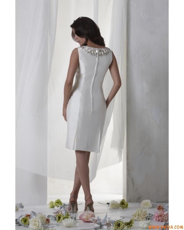 prosty elegancki klasyczny krótki syrena tafta Suknie ślubne