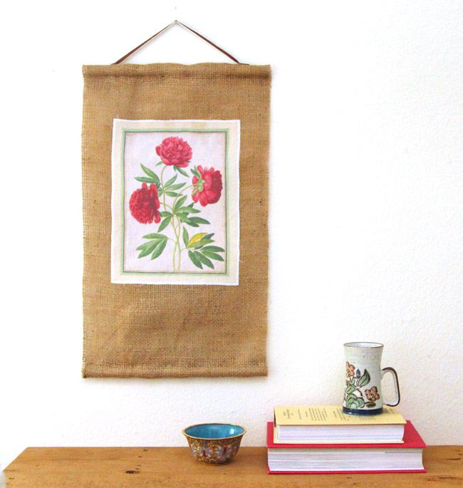 How to Print on Fabric + DIY Coffee Bean Bag Art Scroll - A Piece Of Rainbow