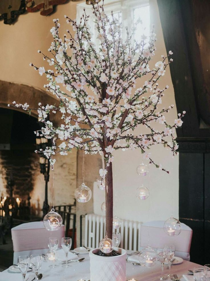 Cherry Blossom and T-light balls....