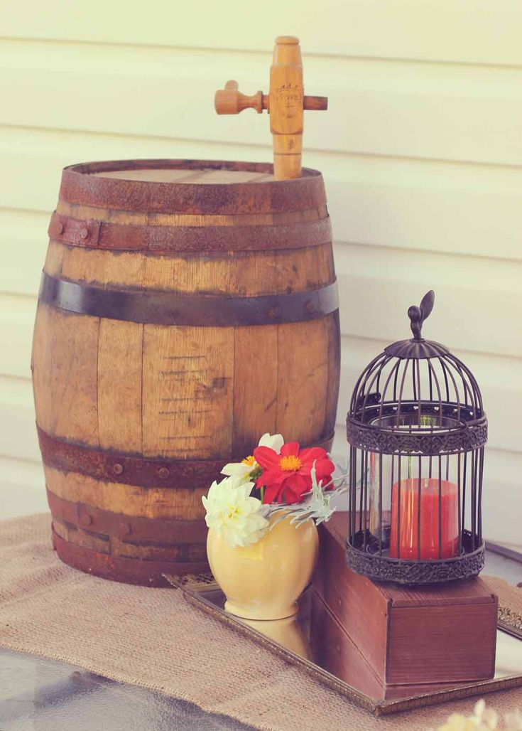 Vintage wine barrel to add charm to any display.