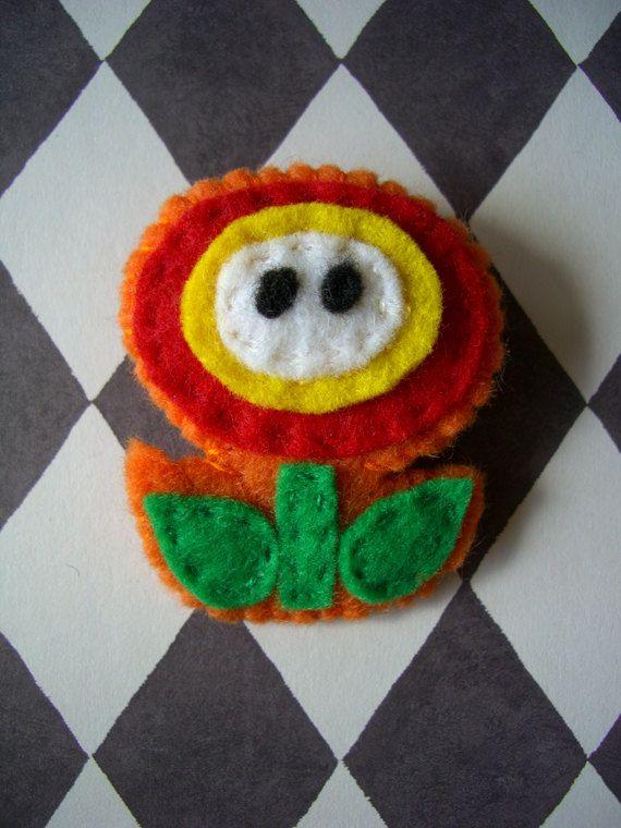 Super Mario Bros FIREFLOWER felt brooch by iggystarpup on Etsy, $12.50