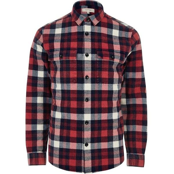 River Island Red check twill shirt ($21) ❤ liked on Polyvore featuring men's fashion, men's clothing, men's shirts, men's casual shirts, shirts, red, mens casual long sleeve shirts, mens checkered shirts, mens extra long sleeve shirts and mens red checkered shirt