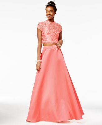 City Studios Juniors' 2-Pc. Mock-Neck Gown, A Macy's Exclusive Style | macys.com