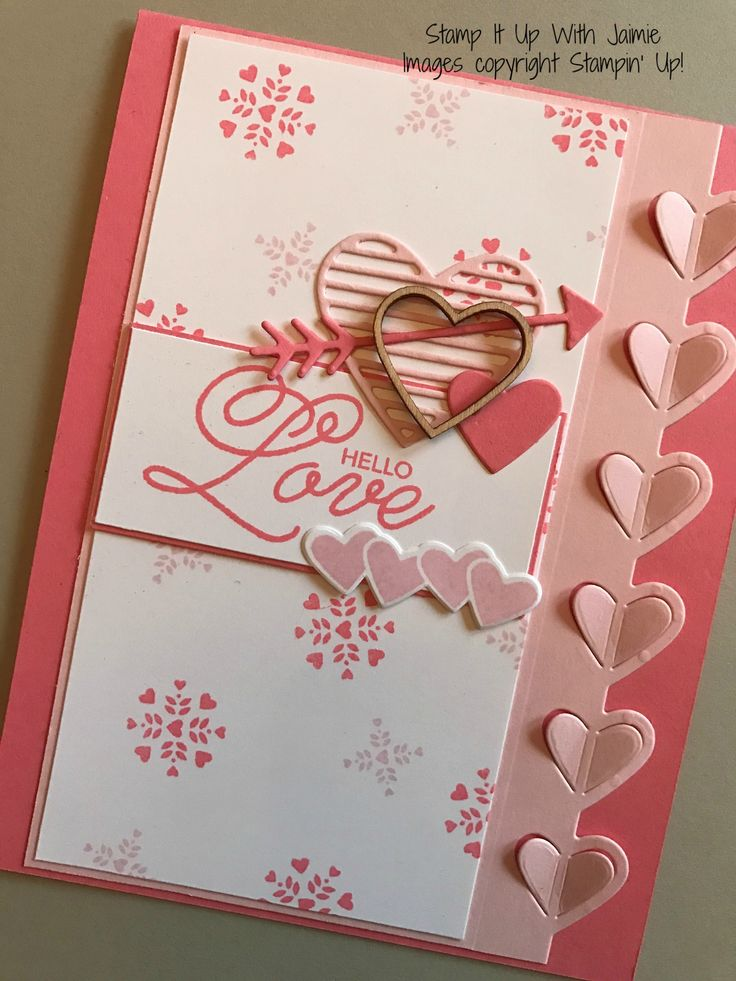 For my card today I wanted to use the Sealed with Love Bundle, but particularly the vertical heart framelit included in the Love Notes Framelits. My card uses Flirty Flamingo as its base. I layere…