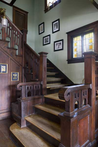 Bungalow staircase with restored woodwork