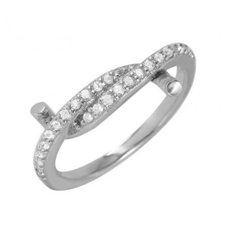 Metal: .925 Sterling Silver Finish: Rhodium Plated Stones: 26 clear 1mm CZ Ring Measurement: 10mm width