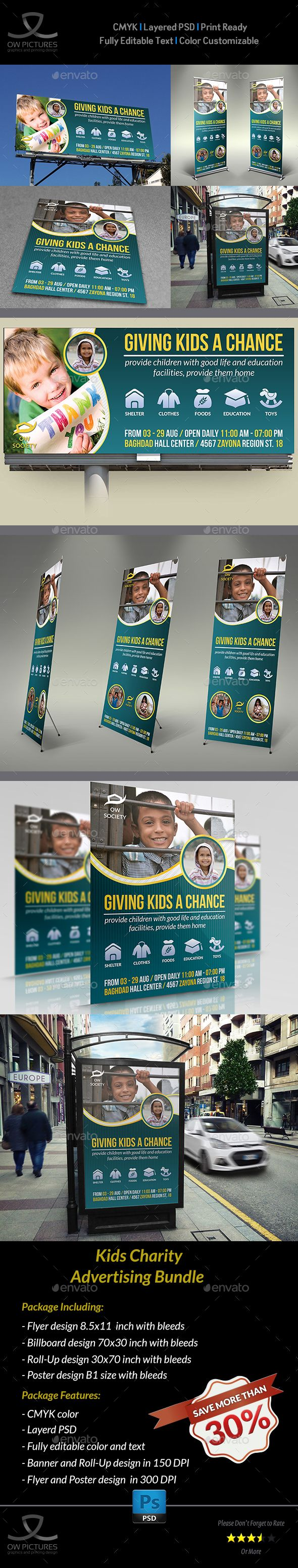 Kids Charity Advertising Bundle Template — Photoshop PSD #kindness #collage • Available here → https://graphicriver.net/item/kids-charity-advertising-bundle-template/13043758?ref=pxcr