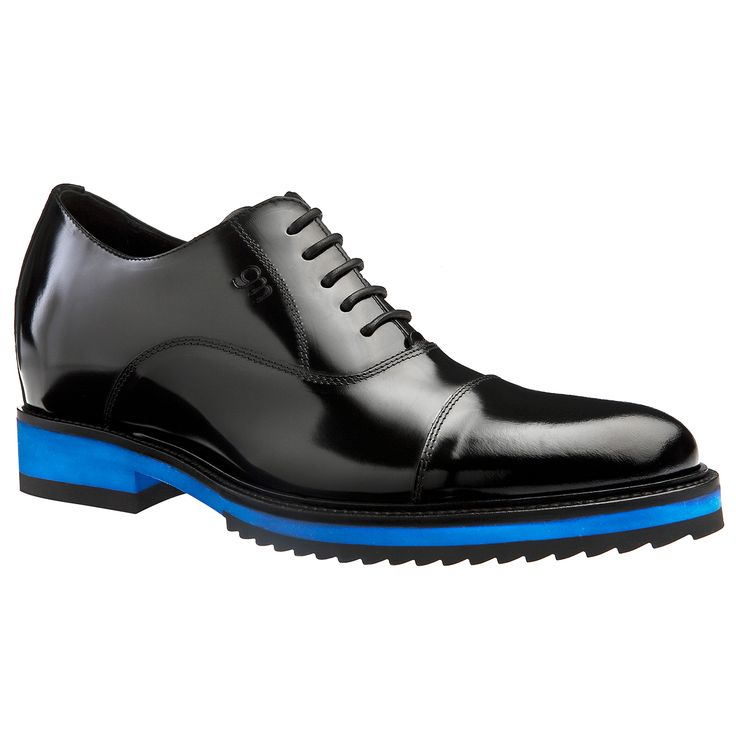 Height increasing shoes - Paris | Upper in shiny black calfskin, lining in soft goatskin, cotton waxed shoe laces. Hand Made elevator shoes in Italy by www.guidomaggi.com/us