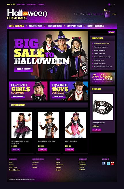 OpenCart #template // Regular price: $90 // Unique price: $2500 // Sources available: .PSD, .PNG, .PHP, .TPL, .JS #Website #Halloween #Costumes  #Store #Shop #OpenCart