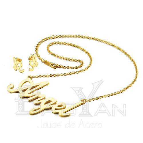 angel collares con aretes dorados de nombres de joyas de acero