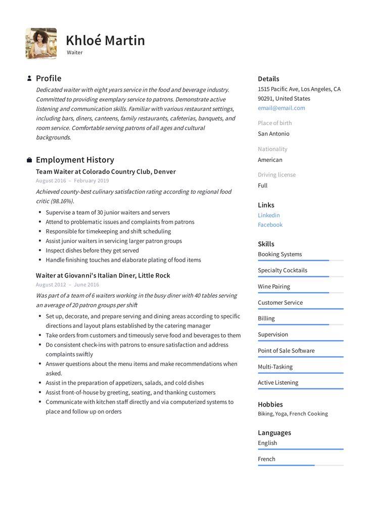 Waiter Resume Template in 2020 Resume skills, Server