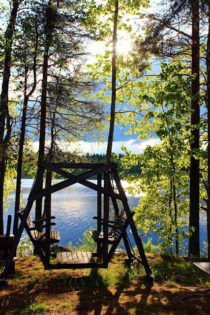 Summer, lake, forest, traditional swing.  Reminds me of Cottage Country, Northern Ontario, CANADA