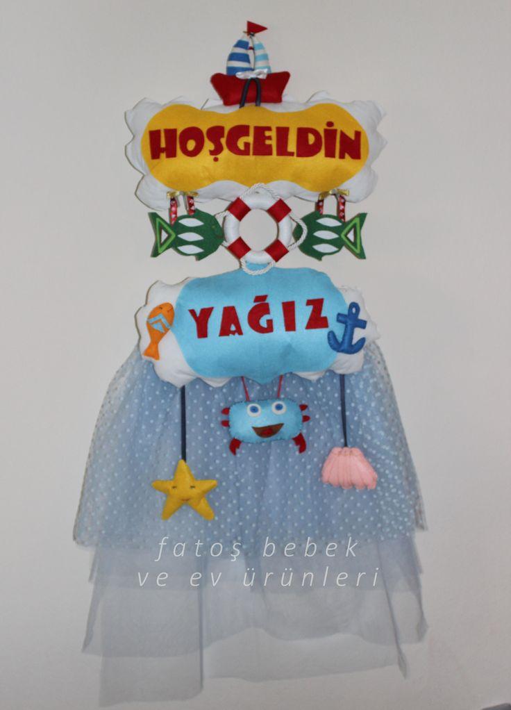 """Keçeden deniz temalı """"Hoşgeldin"""" kapı süsü(erkek bebek)/ Sea themed """"Welcome"""" door wreath made with felt(baby boy)"""