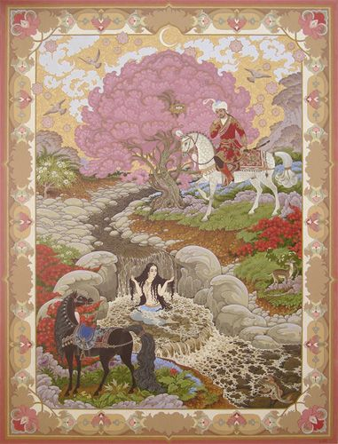 A Beautiful illustration from the story of 'Khosrow and Shirin' by Nizami Ganjavi at the moment the two lovers first meet <3