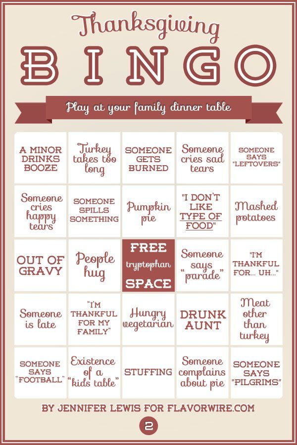 Thanksgiving Bingo cards or something like this ;)