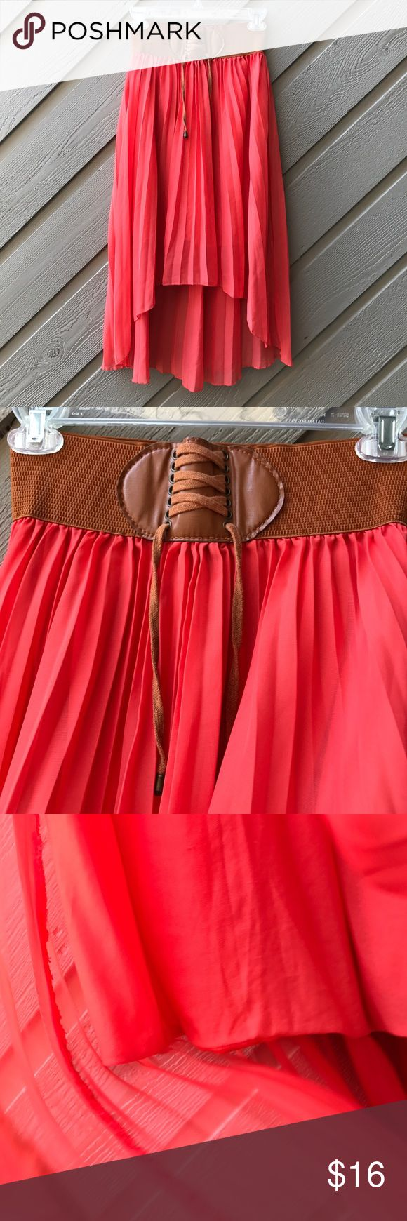 Beautiful Boho Style Skirt Coral pleated high low skirt semi-sheer with under skirt and brown stretch attached belt. Excellent condition! Mint Green Skirts High Low