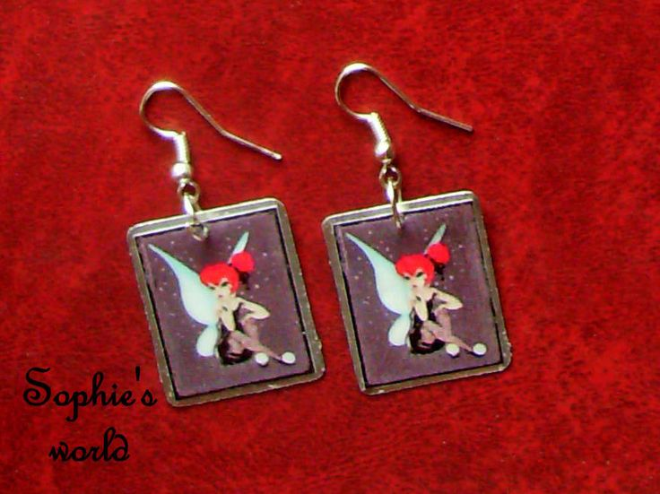 handmade earrings Tinkerbell image σκουλαρίκια με υγρό γυαλί  https://www.facebook.com/Sophies-world-712091558842001/