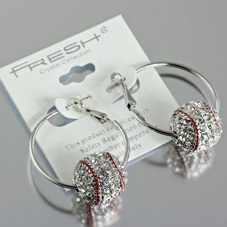 3D Crystal Baseball Hoop Earrings