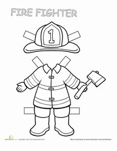 Firefighter Paper Doll Worksheet. Great for a Community Helper Unit!
