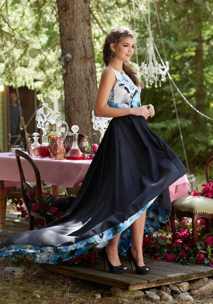 Floral Printed Taffeta A-Line Prom Dress | Morilee #henrysprom2017 #dresscometrue #leavealittlesparkle
