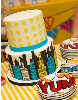 Pop Art Cake Love the plates, too!
