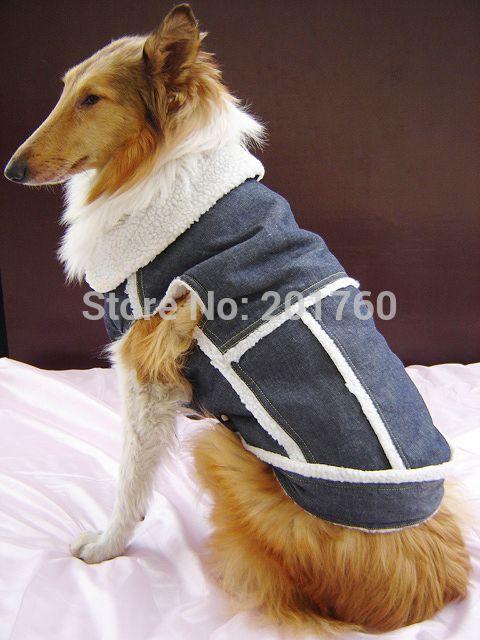 Jeans denim Pet cão de cão azul alishoppbrasil