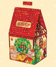 Hostynna Khatka Gift Box - assorted Roshen chocolates, jellies, and caramels in a celebratory 'Hostynna Khata' gift box.