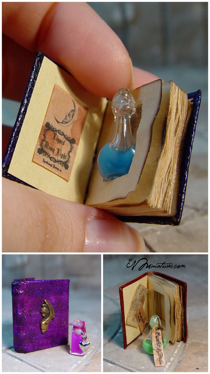 DIY Inspiration: Miniature Hidden Potion Books from EV Miniatures.Make Miniature Hidden Potion Books using miniature decorative bottles and DIY handmade books. *I searched Etsy and a linked site trying to find if these were still for sale - and had no luck finding this seller.You can make the DIY miniature handmade books from tutorials I've already posted (see roundup below) and combine it withthis super easy DIY Book Safe from Wikihow  My 12 Favorite Miniature Book Tutorials here.