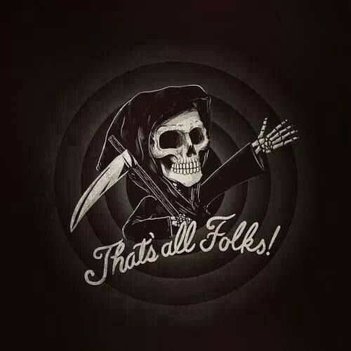 """That's all, folks!"" - looney tunes grim reaper skeleton skull death cartoons parody art"