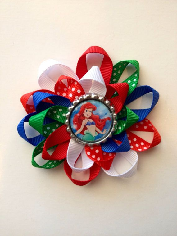 Little Mermaid Hair Bow. Bottle Cap bow with Ariel by sweetlilbows, $5.00