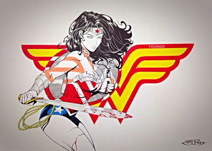 Wonder Woman  A3  Pen and Coloured Pencil